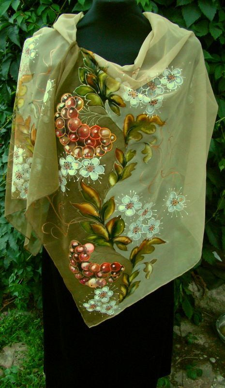 Natural silk shawl floral rowantree beige hand by Studijakalla