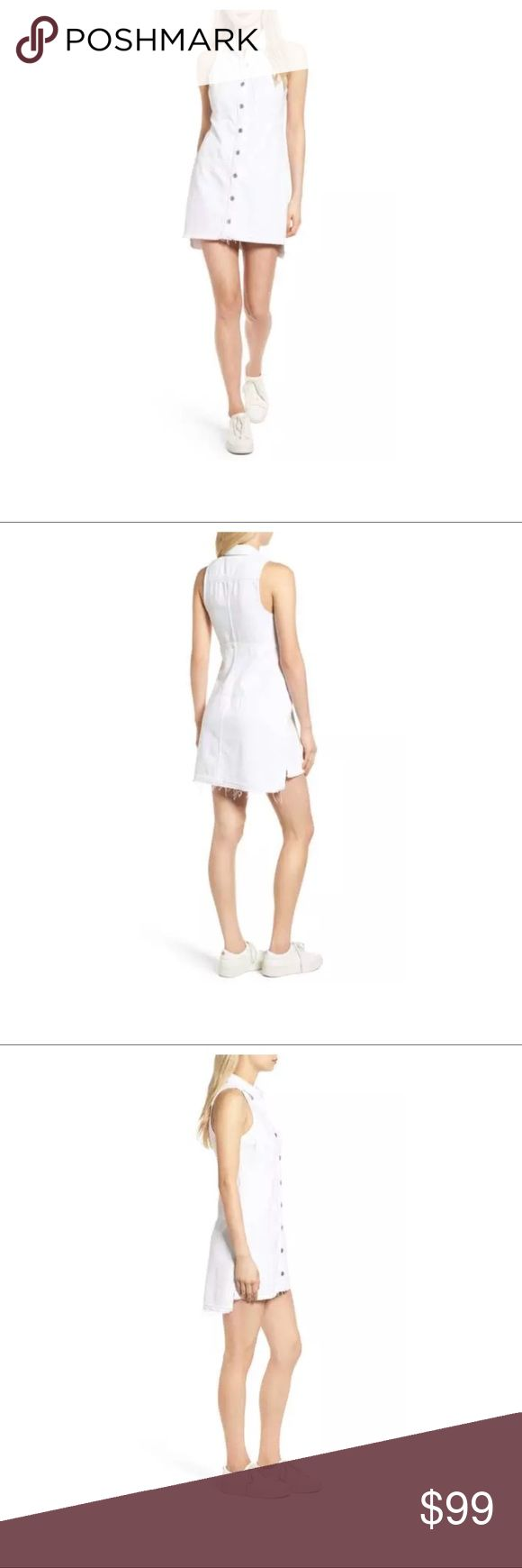 """$249 NWT 7 For All Mankind Released Hem Denim Dres New with tags. Retails for $249 + Tax  White Button front Denim dress Sleeveless Released hem Frayed trim and hem  Size M  Measures approximately: front length 35"""", back length 37"""" bust across 18.75""""  High end department store shelf pull- May have had customer contact  **Has some dirt/marks on the bottom of the hem from being handled in stores. Has been spot treated, marks faded but remain. Item has not been bleached- if desired. Refer to…"""