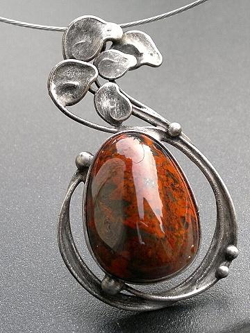 Etno textil - Originální dárky - Bižuterie Artist Miroslava Bulířová beautiful handcrafted pendant necklace art nouveau silver gemstones