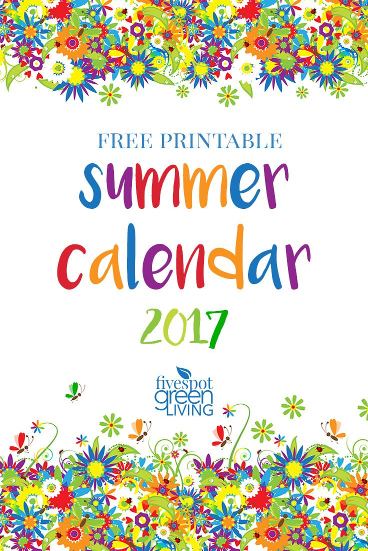 If you aren't already, you better start planning your summer activities! Use this free printable summer calendar 2017 and write in all of your plans!