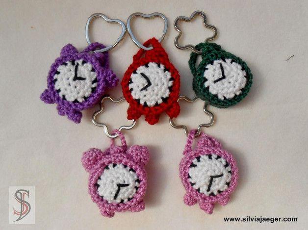 Schlüsselanhänger - Uhr - von SilviaJaeger bei DaWanda