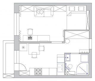 Alaprajz - Hogyan rendezz be egy 33m2-es kis lakást - világos dekoráció, praktikus megoldások, a lehetőségekhez mérten tágas elrendezés