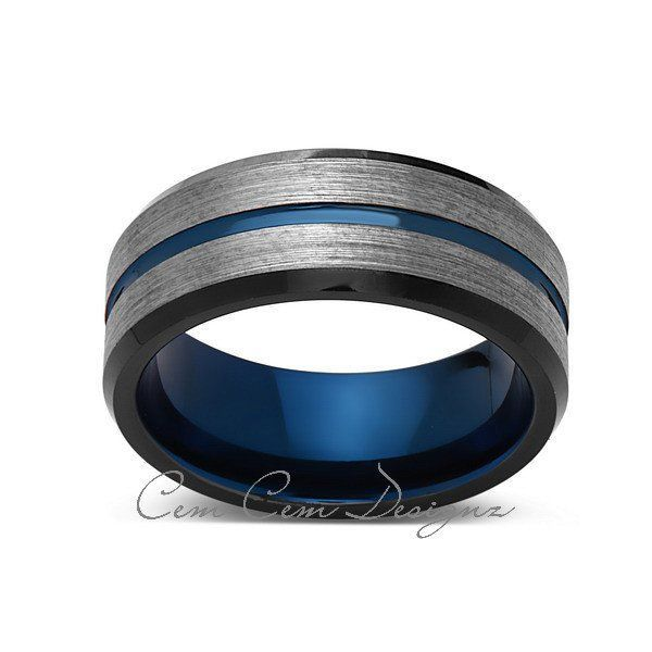 8mm,Brushed Gun Metal,Gray and Black,Blue Tungsten Ring,Mens Wedding Band,Comfort Fit,Blue Ring
