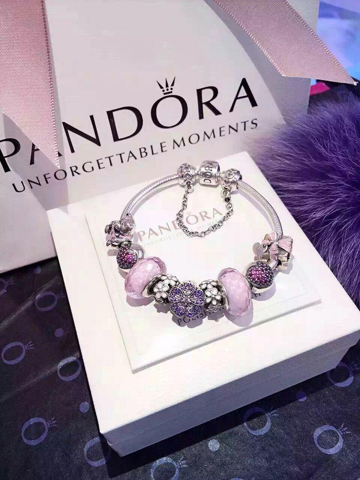 50% OFF!!! $259 Pandora Charm Bracelet Pink Purple. Hot Sale!!! SKU: CB01957 - PANDORA Bracelet Ideas