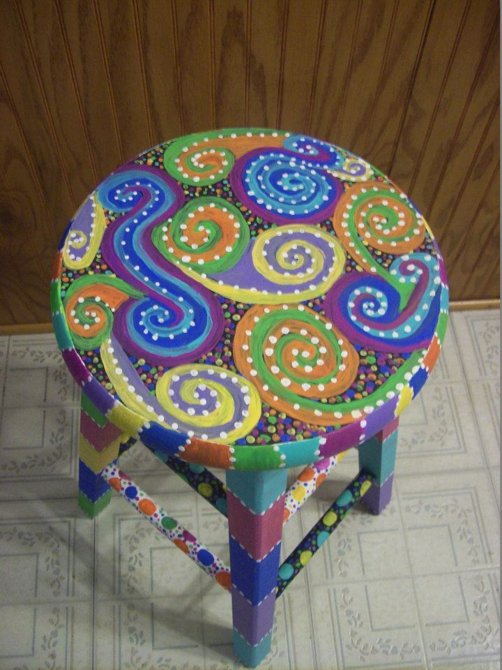 Fun-Colorful-Funky hand painted design on a wooden stool...View #2 https://www.facebook.com/buggybeandesigns