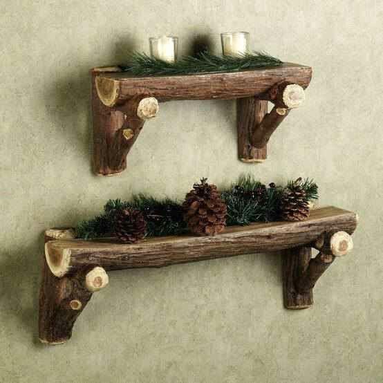 Repisas hechas con pedasos de tronco