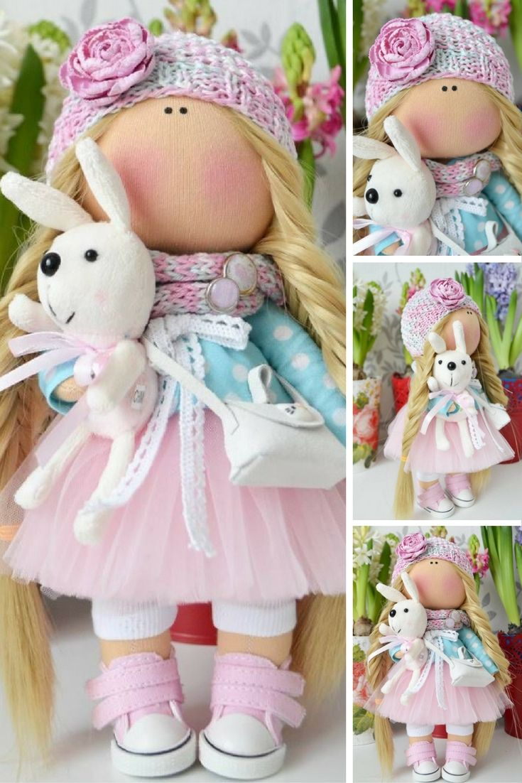 Rag doll Cloth doll Handmade doll Baby doll Soft doll blonde pink colors Fabric…