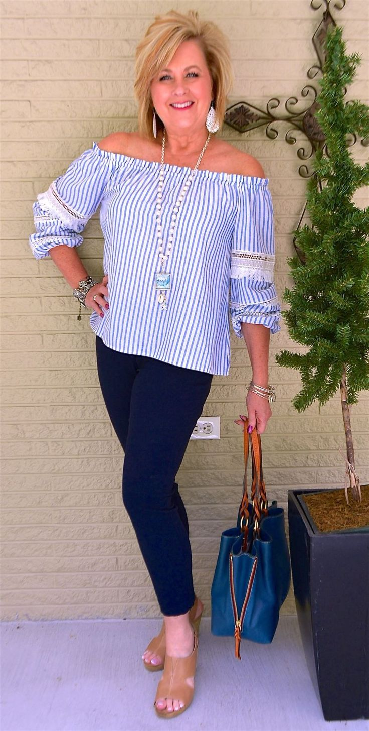 50 IS NOT OLD | A MILLION FISH IN THE SEA | Stripes | Off the Shoulder | Slenderizing | Fashion over 40 for the everyday woman