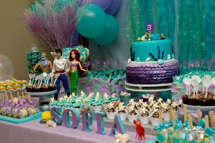 The Little Mermaid Birthday Party Ideas Birthday Party Desserts Ariel Birthday Party Mermaid Birthday Party