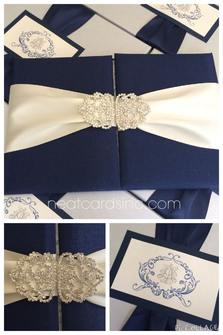 silk box wedding invitations indian%0A Navy blue silk wedding invitation folio wrapped in ivory satin ribbon with  rhinestone clasp  Imitation placed in a silver presentation box wrapped in  navy