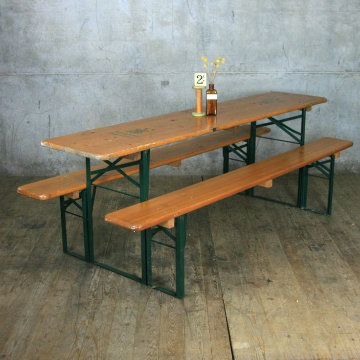 Vintage Biergarten Pine Beer Table U0026 Benches