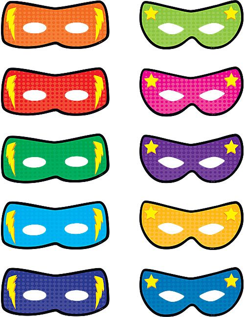 You could take a photo of each student and add Superhero Masks Accents on top of the photos to make a fun classroom bulletin board