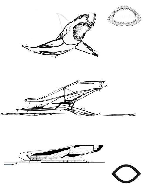 Eye film institute shark sketch architecture for Concepto de arquitectura