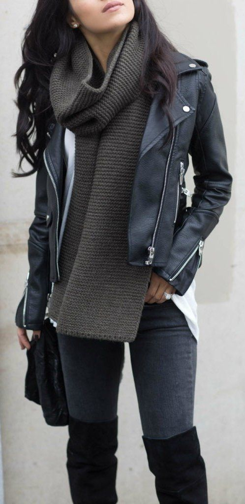 Edgy look | Oversize scarf, leather jacket and over the knee boots #ad