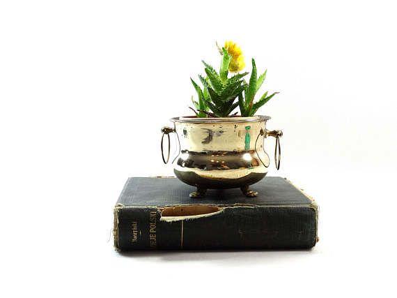 Vintage Brass Bowl  Vintage Brass Planter  Vintage Tripod