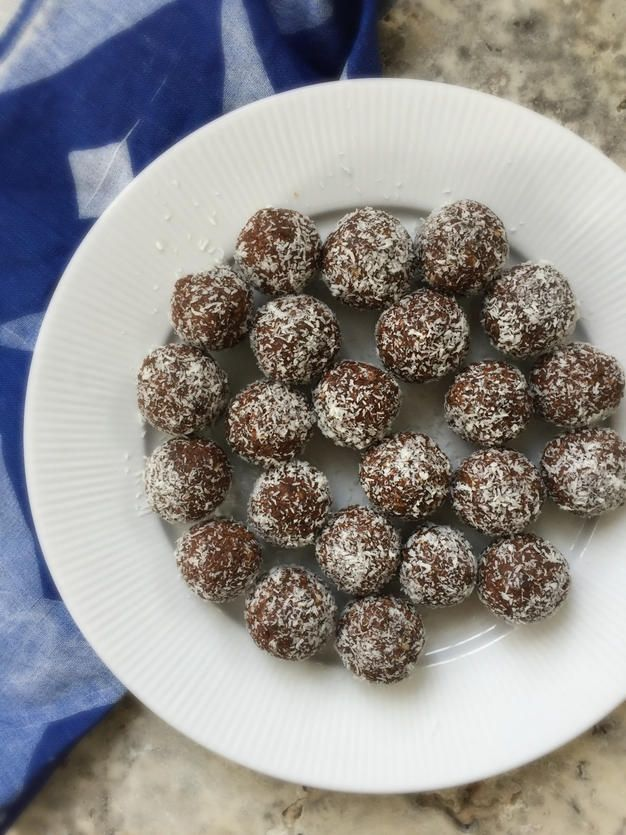 Apricot, coconut and chocolate bliss balls. Great for the lunchbox or after school treat. Being nut free they are lunchbox friendly and are packed full of nutrition including: iron from the dried apricots, protein, iron and zinc from the pepitas (pumpkin seeds), carbohydrates, protein and fibre from the rolled oats, minerals and antioxidants from the raw cacao powder.  Find PVC & BPA free reusable lunch boxes online at www.biome.com.au.