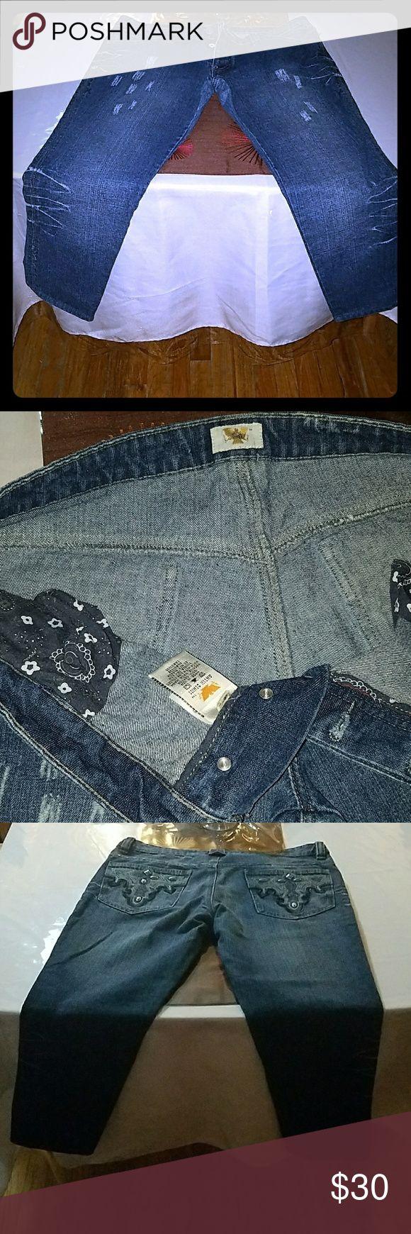 Antik denim jeans. Missing a few stones on the back but still in great condition! Antik Batik Jeans Straight Leg