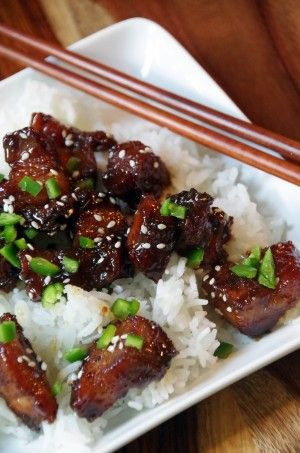 Teriyaki Glazed Pork Belly over Jasmine Rice