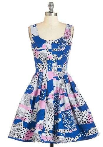 You've Got Skillshare Dress in Abstract | Mod Retro Vintage Dresses | ModCloth.com Size XL, AMAZING dress, I just don't reach for it as much as I should! Very limited swap, or will sell for $85 shipped (I purchased it for $125)