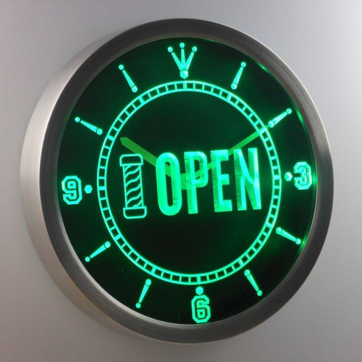Great Nc G Barber Pole Open Shop Display Neon Sign Led Clock
