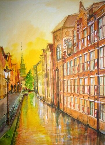 """Sunset in the City 1 "". Watercolor by Gabriela Calinoiu.  www.picturipeisaje.wordpress.com"