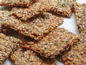 Nut & Seed Crispbread.  Ingredients: ½ cup roughly chopped nuts, such as almonds or cashews ¼ cup pumpkin seeds (without shells) ¼ cup sunflower seeds (without shells) ¼ cup hemp seeds (may be called hemp hearts) 2 tbsp sesame seeds 2 tbsp whole chia seeds 1 tbsp psyllium husk powder (I used Frontier brand*) 2 tbsp coconut oil, butter, or pasture tallow 1 and ¼ cups water ½ tsp salt ½ tsp coarse salt for top, or to taste Herbs and/or seasonings as desired, such as ground thyme, oregano…