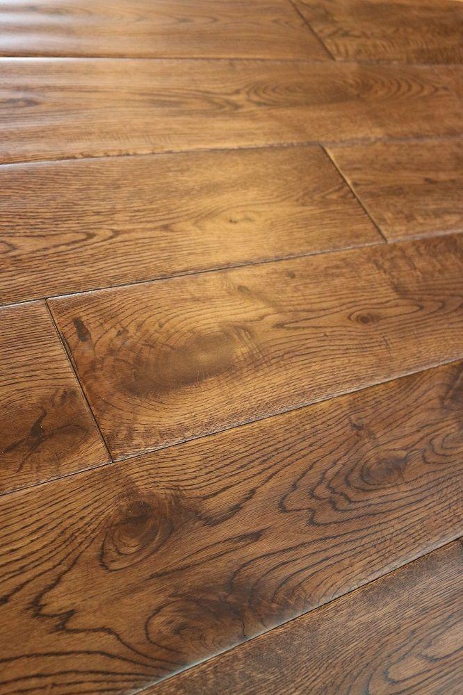"Oak Gunstock Dark 5/8 x 5"" Hand Scraped   Engineered Hardwood Flooring   WeShipFloors"