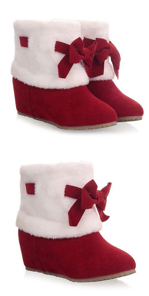 Bow Hidden Wedge Short Boots