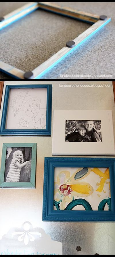Reuse small frames - add magnets to back to interchange photos. Display on refrigerator.  http://landeeseelandeedo.blogspot.com/2011/08/magnetic-command-center-accessories.html