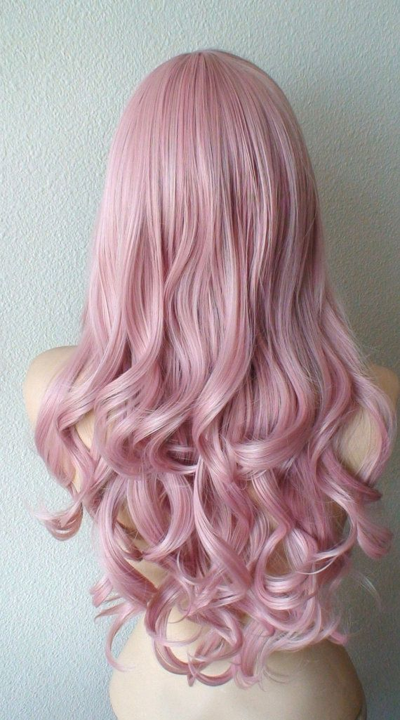 Pastel Ash Blush Pink wig. Light Mauve Pink wig. by kekeshop