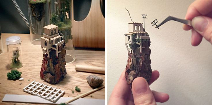 Artist Creates Incredibly Tiny Floating Worlds Inside Glass Test Tubes | Bored Panda