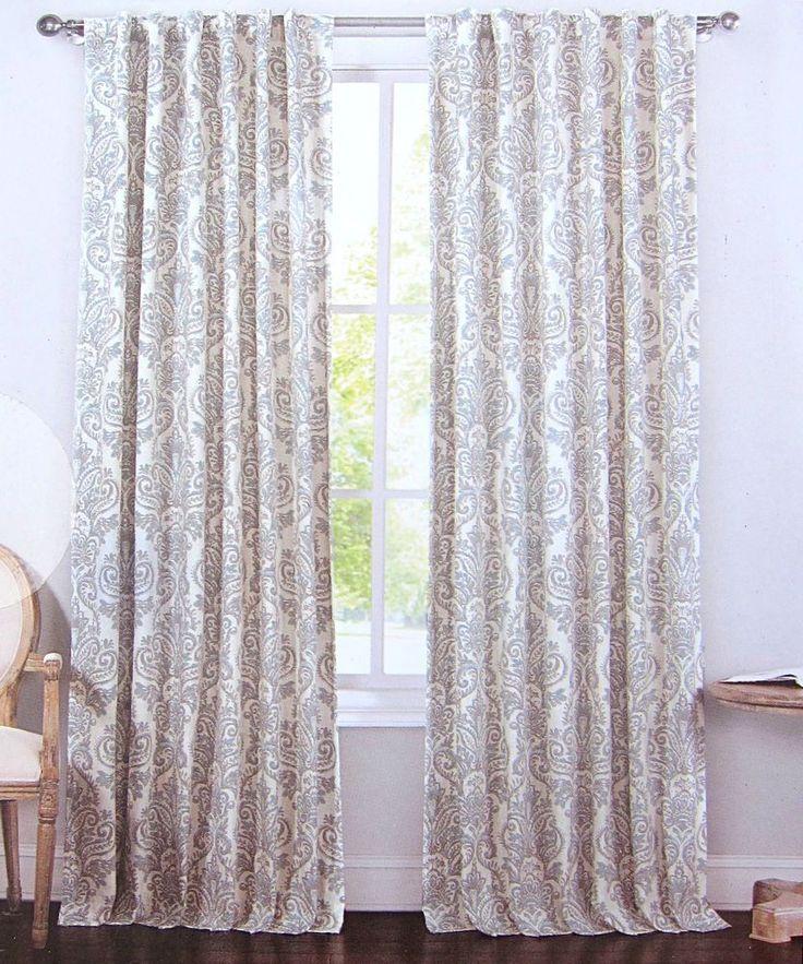 Envogue Gray Blue Damask Paisley Window Curtain Panels Set