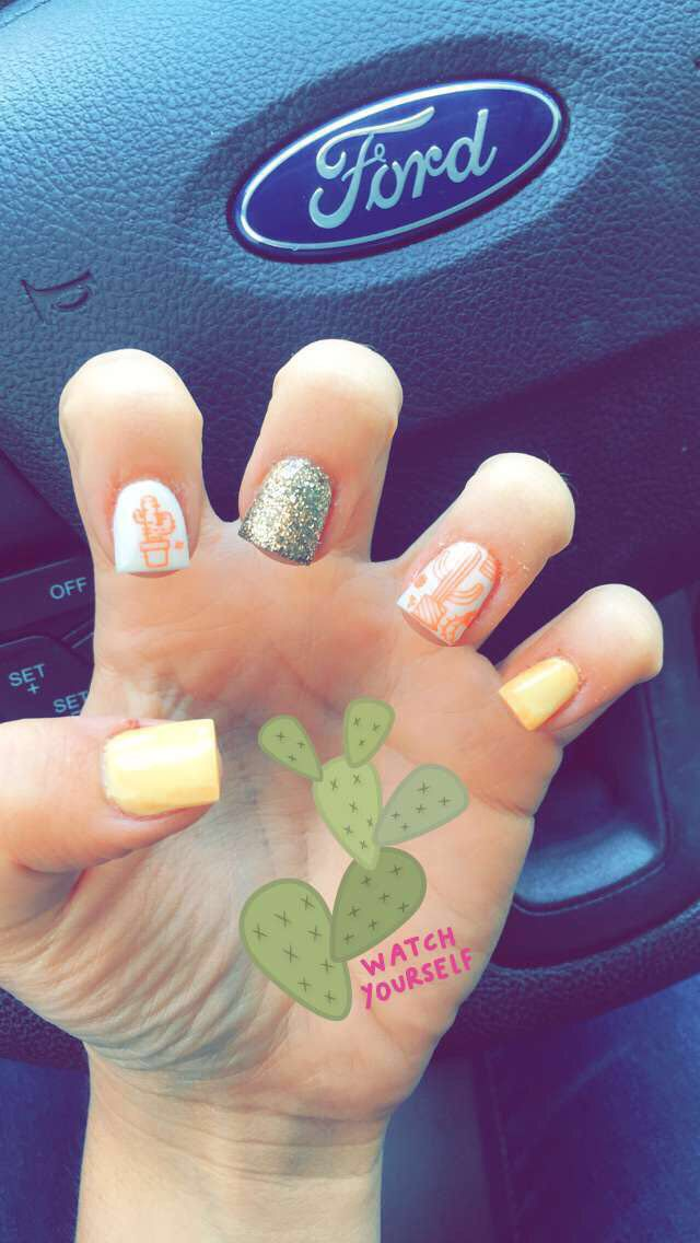 Acrylic Cactus Nails Cute Nails Summer Nails Fun Stamped
