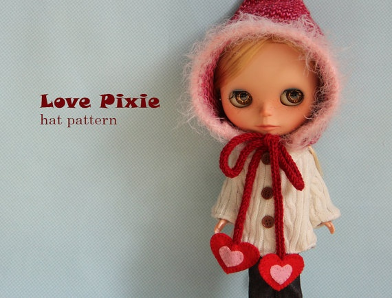 Free Knitting Patterns For Large Dolls : Love Pixie knitted hat for Blythe dolls Blythe outfits ...
