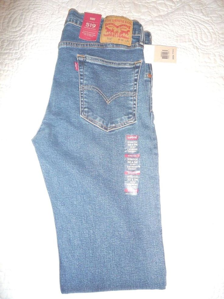 New With Tag LEVI'S 519 Men's Extreme Skinny Jeans Stretch Blue 32 X 34 #Levis #SlimSkinny