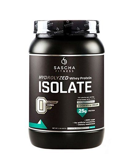 Sascha Fitness Hydrolyzed Whey Protein Isolate (2 Pounds, Cookies & Cream )