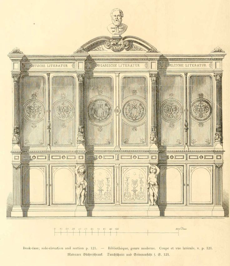 Dessins de mobilier tirés de catalogues de meubles de 1871
