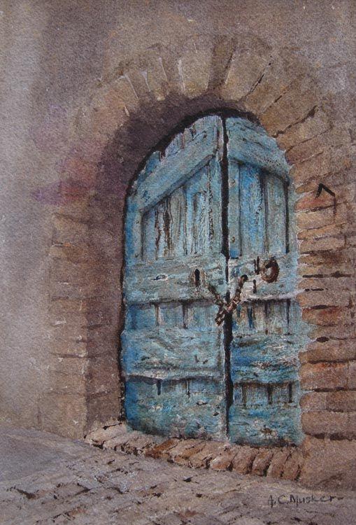 An Old Door  Watercolour : 25 x 21 cm Signed  www.johnadamsfineart.com