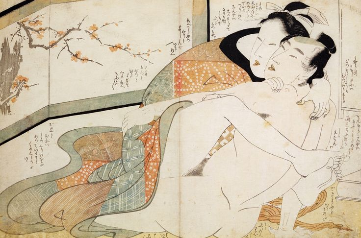 Erotic scene (Two lovers by a screen) by Kitagawa Utamaro, 1802 (PD-art/old), Muzeum Narodowe w Krakowie (MNK)