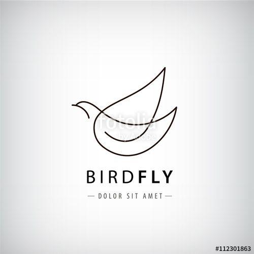 Vector: Vector line bird logo, pigeon silhouette, flying abstract