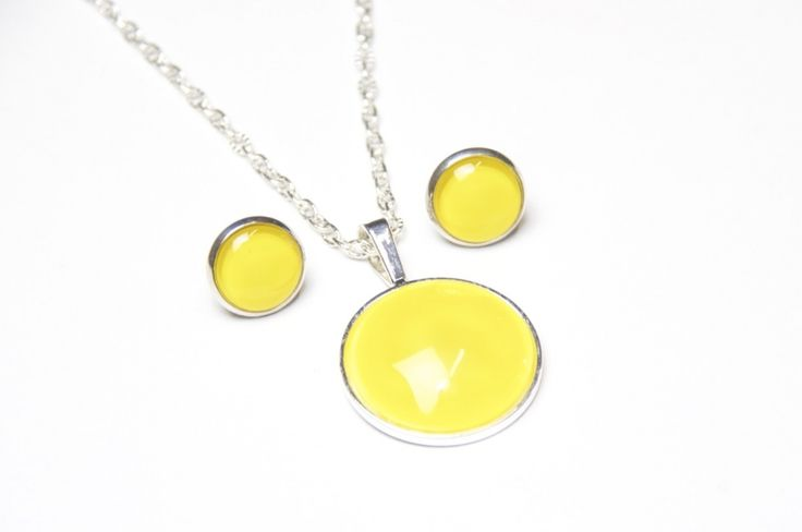 Schmuckset Sommer Gelb  Kette, lange Kette, Halskette, Gelbe Kette, Necklace, Ohrringe, Earrings