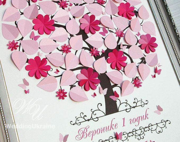Idées de cadeaux d'anniversaire le livre d'or Alternative - idée de cadeau de baptême - bébé douche Guest Book Tree avec 3D papillons et fleurs pour signes de commentaires