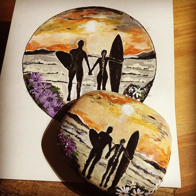 Customized order for client. Hndpainted rock and handpainted art card. Wedding gift for a young couple who loves to surf! #commisionart #custommadeart #custommadegifts #custommaderocks #custommadeartcards #handpaintedcards #handpaintedrocks #westcoastart #westcoastbestcoast #surfart #surfsude #surfdudette #surfsup #custommadesurfart #handpaintedsurfer #surfboards #instaartist #instaartistic #instaart