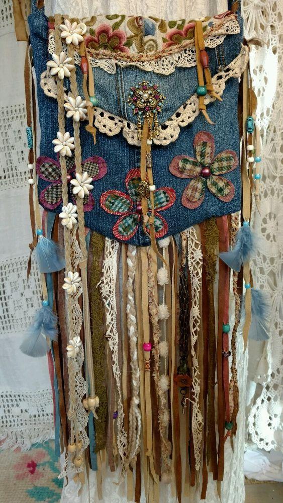 Handmade Denim Cross Body Suede Fringe Bag Vintage Lace Hippie Boho Hobo tmyers #Handmade #MessengerCrossBody