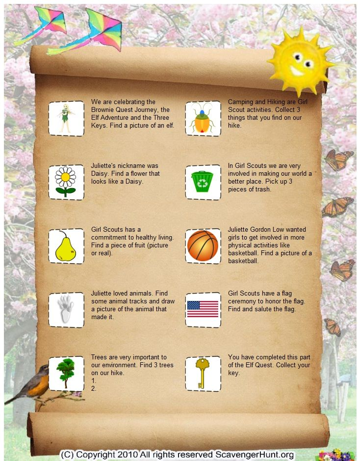 Brownie Quest Journey-scavenger hunt  list