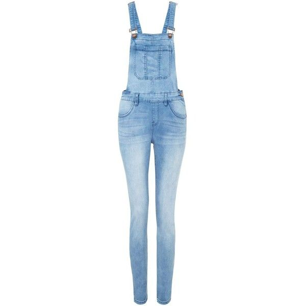 Blue Denim Full Length Skinny Dungarees (46 BRL) ❤ liked on Polyvore featuring jumpsuits, jeans, skinny leg jumpsuits, skinny jumpsuit, blue jumpsuit, denim jumpsuit and full length jumpsuits