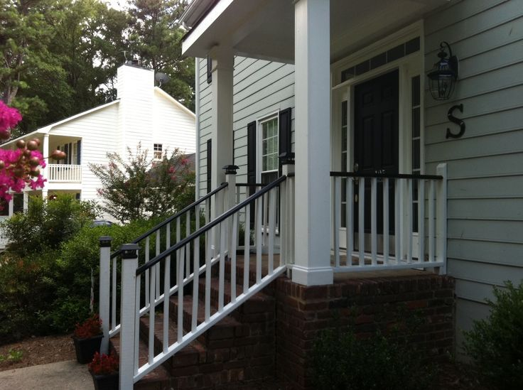 Black Porch Rails White House Curb Appeal Pinterest