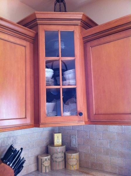 Corner Cabinets Taller Glass Doors Help Kitchen Remodel