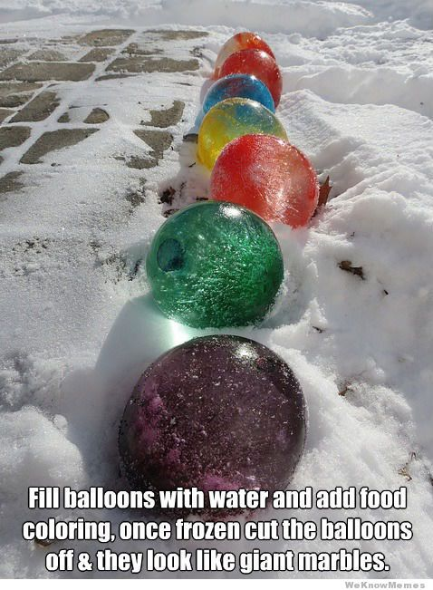wonder if you could make them glow in the dark?  frozen-water-balloons