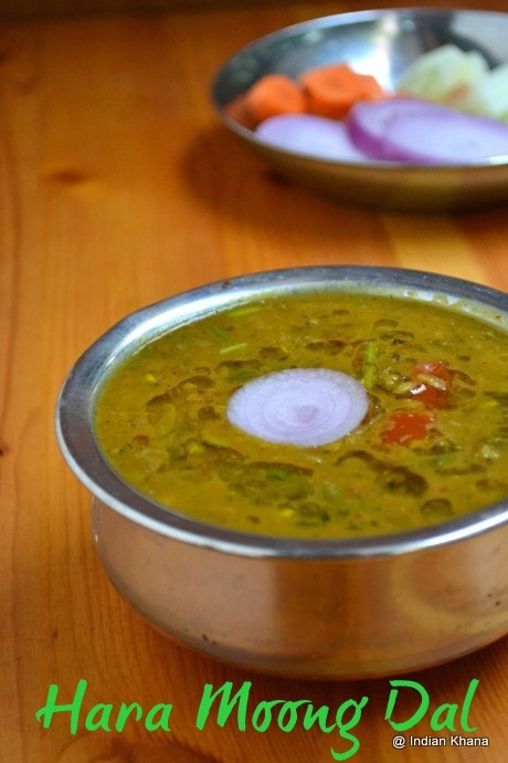 Hara Moong Dal Tadka | Hara Dal Fry Recipe  Green gram lentil made with onion, tomato and spices.